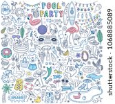 pool party doodle set. summer... | Shutterstock .eps vector #1068885089