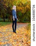young beautiful girl walking in ... | Shutterstock . vector #106888736
