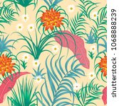 tropical leaves and flowers... | Shutterstock .eps vector #1068888239