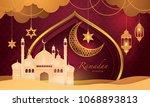 ramadan kareem greeting card ... | Shutterstock .eps vector #1068893813