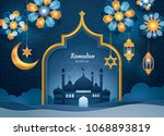 ramadan kareem greeting card ... | Shutterstock .eps vector #1068893819