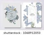 botanical wedding invitation...   Shutterstock .eps vector #1068912053
