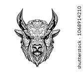 sketch head buffalo bull ... | Shutterstock .eps vector #1068914210