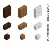 isometric wardrobe icon set.... | Shutterstock .eps vector #1068916934
