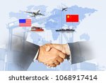 us and china as two opposing... | Shutterstock . vector #1068917414