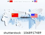 us and china as two opposing... | Shutterstock . vector #1068917489