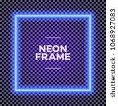neon square frame on... | Shutterstock .eps vector #1068927083