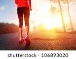 athlete runner feet running on... | Shutterstock . vector #106893020