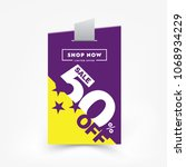 50  off sale discount banner.... | Shutterstock .eps vector #1068934229