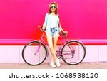 pretty smiling woman with... | Shutterstock . vector #1068938120