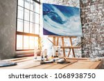 art room. artist workspace in... | Shutterstock . vector #1068938750