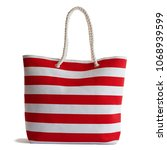 red stripe beach bag  isolated... | Shutterstock . vector #1068939599