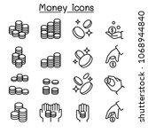 coin   hand icon set in thin... | Shutterstock .eps vector #1068944840