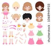 adorable little princess... | Shutterstock .eps vector #1068944933