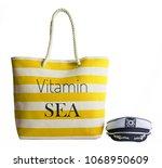 yellow stripe beach bag and...   Shutterstock . vector #1068950609