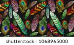 color feathers embroidery... | Shutterstock .eps vector #1068965000