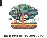 tree house concept   a tree...   Shutterstock .eps vector #1068967940