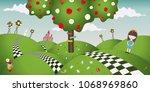 wonderland fantastic landscape... | Shutterstock .eps vector #1068969860