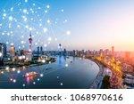 shanghai rapid development in... | Shutterstock . vector #1068970616
