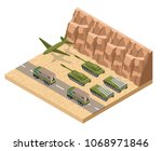 military army low poly of base... | Shutterstock .eps vector #1068971846
