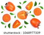 persimmon decorated with green... | Shutterstock . vector #1068977339
