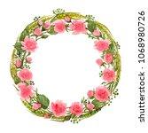 watercolor floral wreath of... | Shutterstock . vector #1068980726