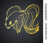 goldfish on a black background... | Shutterstock .eps vector #1068984920