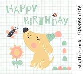 vector illustration  cute dog ... | Shutterstock .eps vector #1068985109