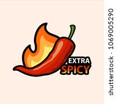 extra spicy pepper emblem  .... | Shutterstock .eps vector #1069005290