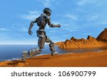 cyborg runs along the beach. | Shutterstock . vector #106900799