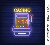 casino colorful neon sign. slot ...   Shutterstock .eps vector #1069014230