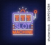 slot machine colorful neon sign....   Shutterstock .eps vector #1069014284