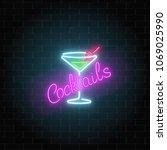 neon cocktails bar or cafe sign ... | Shutterstock . vector #1069025990