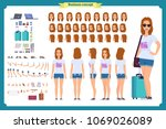 tourist female  vacation... | Shutterstock .eps vector #1069026089
