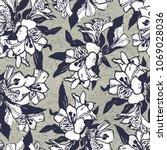 seamless flowers pattern. hand... | Shutterstock . vector #1069028036