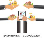 hand of real estate agent...   Shutterstock .eps vector #1069028204