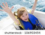 two kids sitting in the bow of...   Shutterstock . vector #106903454
