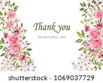 floral frame with pink roses... | Shutterstock . vector #1069037729