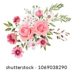 watercolor drawing of a branch... | Shutterstock . vector #1069038290