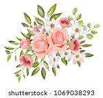 watercolor drawing of a branch... | Shutterstock . vector #1069038293
