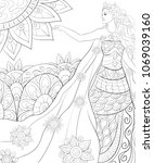 adult coloring page book a ... | Shutterstock .eps vector #1069039160