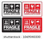 fragile handle with care with... | Shutterstock .eps vector #1069040330
