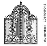 black metal gate with forged... | Shutterstock .eps vector #1069049048