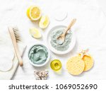 homemade beauty facial mask.... | Shutterstock . vector #1069052690