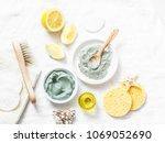 homemade beauty facial mask.... | Shutterstock . vector #1069052690