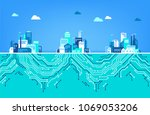 digitalization concept   iot  ... | Shutterstock .eps vector #1069053206