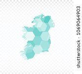 ireland map polygonal map is... | Shutterstock .eps vector #1069064903