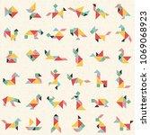 hand drawn tangram set in... | Shutterstock .eps vector #1069068923