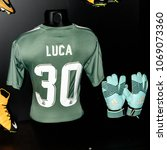 Small photo of MADRID - APRIL 14, 2018: Luca 30, Actual shirt of season 2017-2018, Museum of Real Madrid soccer team, Santiago Bernabeu Stadium