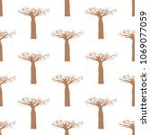 baobab tree seamless pattern | Shutterstock .eps vector #1069077059